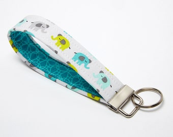 Elephant Key Chain, Fabric Key Fob, Wristlet Keychain - Aqua, Grey, and Yellow