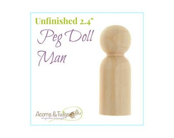 Wooden Man Peg Doll, Unfinished, Waldorf Toys, Wood Craft Supply, Montessori Supplies, DIY Dad Peg Doll