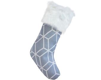 Christmas Stockings - Blue & White Graphic Diamond Christmas Stocking