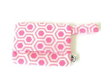 Pink and white dog bag holder, pink poop bag holder, pink honeycomb dog mess dispenser, waste bag holder, bag holder