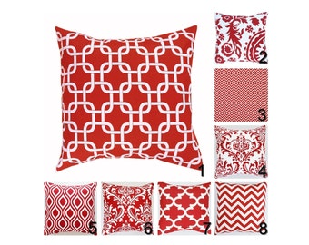 Red Pillow Covers. Red Throw Pillows.Red White Decorative Pillows.Red Toss Pillow.Damask Pillow Covers.Red White Scrolls Pillow