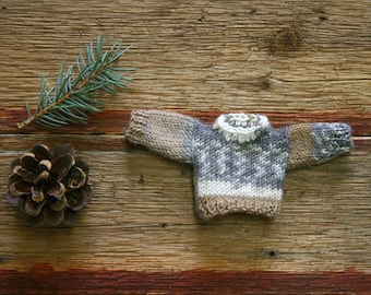 Miniature Clothes- Hand Knitted Sweater- Taupe, White, Grey-, Knitted Pullover- Doll, Small Pet- Decoration- Miniature Jumper
