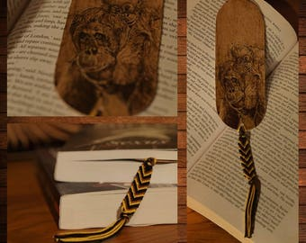 handmade wooden bookmark pyrography ourangutan