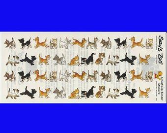 Suzy Suzy's Zoo Scrapbooking Border Sticker Sheet #9903 Cats Kittens Playing