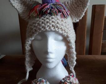 Chunky unicorn hat with earflaps