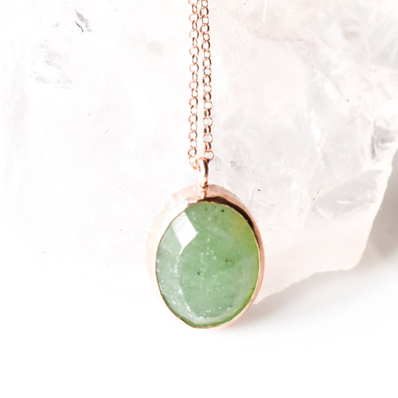 Sterling Silver Green Aventurine Necklace, Rose Gold Necklace , Natural Gemstone , Minimalist,  Dainty Necklace, For Her, Healing Crystal