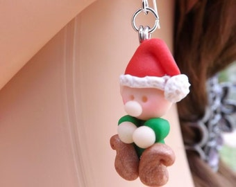 Christmas elves earrings, made from fimo and with sterling silver ear wires.