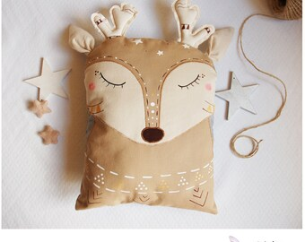 Cushion-child the little reindeer-the tribal Zanimaux - cushion - designer plush reindeer