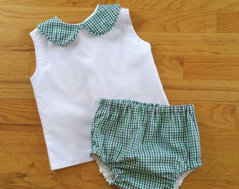 "Boys Sleeveless ""Collin"" Diaper shirt SET with plain front peter pan collar in choice of tricheck plaid - Classic Collection"