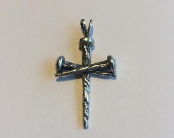 Sterling Silver Three Nail Cross Pendant