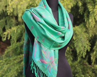 Green Pashmina Scarf / Mothers Day Gift / Pashmina Shawl / Women Pashmina Scarf / Women Scarf