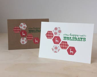 Red Reindeer Hexagon Happy Holidays Card - Christmas New Years