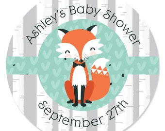 24 Custom Mr. Foxy Fox Circle Stickers - Personalized Baby Shower and Birthday Party Supplies