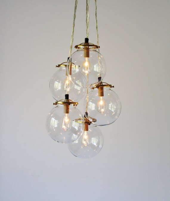 Globe chandelier lighting fixture 5 hanging clear glass like this item mozeypictures Choice Image