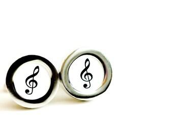 Treble Clef on cufflinks - Music note cufflinks, Men's Cufflinks,  Husband, Wedding gift, Novelty cufflinks for him