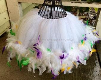 Mardi gras feather tutu, custom tutu, feather dress, costume, dress up, tulle tutu, mardi gras tutu, mardi gras feather tutu, feather tutu,