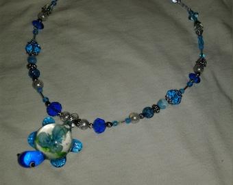 Murano Glass Turtle Pendant Necklace
