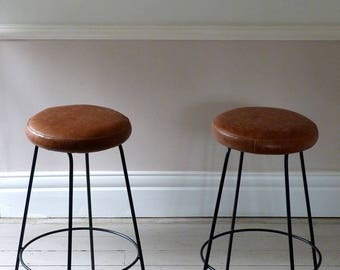 Pair of Mid-Century French Leather Cafe Stools