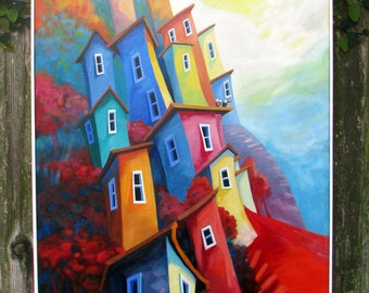 Cliffside Houses original oil painting