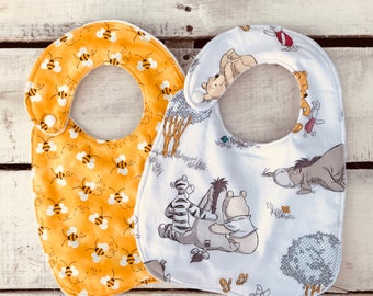 Winnie the Pooh Baby Bibs, Gender Neutral Baby Bibs, Yellow and Gray Baby Bibs, Pooh and Bees Bibs, Minky Bibs,Baby Shower Gift