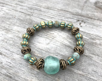 Sea foam Bronze Stretch Bracelet