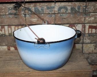 Vintage Blue Ombre Enamelware Pot