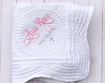 Baptism Gift for Girl - Personalized Baby Blanket - White Quilt with Name - Religious Baby Gift - Christening Gift - Godmother