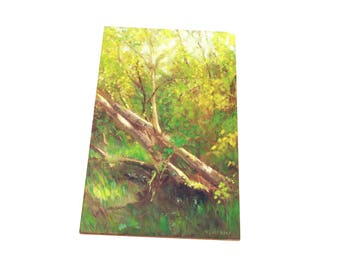 oil painting // sunlit birch trees // artistic work of art // hand-painted contemporary impressionism monet art