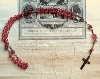 French antique rosary necklace, pink beads and crucifix, Catholic Hail Mary vintage religious memorabilia, divine, Lourdes souvenir 1920's.
