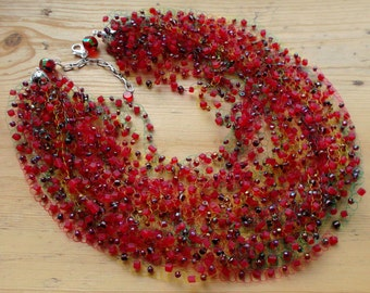 airy beaded necklace. bright necklace. necklace Red dark red color mix. Necklace many rows. necklace beads. Beaded Jewelry. Idea for a gift.