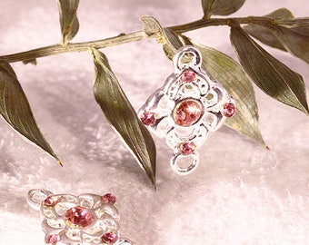 4 connectors set flower Silver Pink Crystal diamond clear 18x13mm