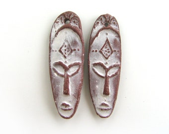 African mask beads - primitive face beads, ceramic beads, long beads, flat, earrings beads, unique design