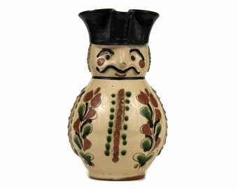 Vintage Beer Pitcher. Ceramic Soldier Figure. Man with Moustache and Hat Glazed Pottery Pitcher. Mid Century Anthropomorphic Jug.