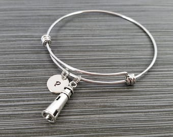 Lighthouse Bangle- Lighthouse Charm Bracelet - Expandable Bangle - Charm Bangle - Ocean Bracelet- Initial Bracelet - Nautical Bracelet