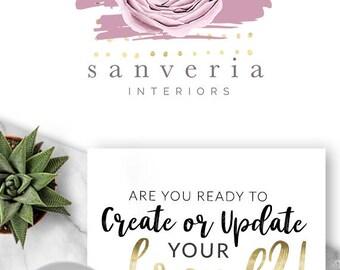 190 - Sanveria, LOGO Premade Logo Design, Branding, Blog Header, Blog Title, Business, Boutique, Custom, Flower, Floral, Rose, Peony