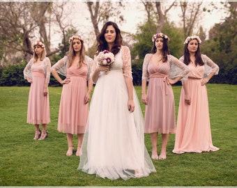 Brautjungfer Spitze Schals, Set von sechs. 4 silberne Spitze Brautjungfern Schals + 1 Elfenbein Braut Schal. Vielseitige Hochzeit Bolero Shrug, Brautjungferngeschenk