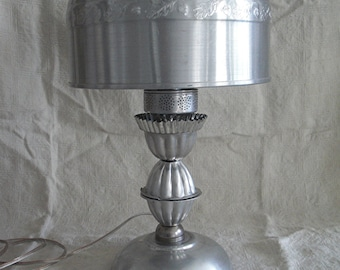 Aluminum lamp shade etsy vintage upcycled kitchen aluminum lamp with cake cover shade aloadofball Image collections