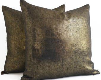 pillow covers 18 x 18, Linen Pillow Covers 18 x 18, gold pillow cover, gold pillow case, metallic gold pillow, black and gold pillow, pillow