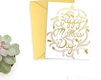 Mother's Day Botanical Card/Mother's Day/For Mom/Happy Mother's Day/Gold Foil Mother's Day
