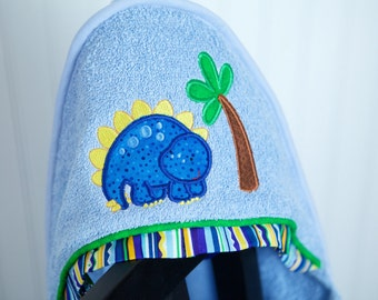 boy hooded towel blue dinosaur appliqué infant toddler child boy gift personalized many colors