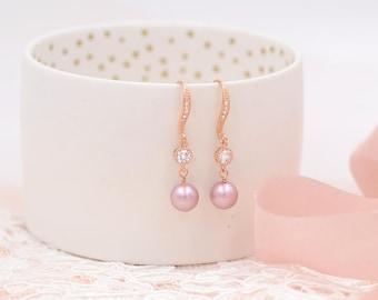 Pearl Bridal Earrings Wedding Jewelry Bride Earrings Swarovski Pearls, rose gold Earrings Pearl Wedding Earrings Zirconia CZ Bridal Jewelry