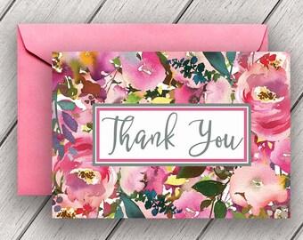 Wedding Thank You Notes, bridal thank you notes, thank you card, boho bridal thank you, floral thank you, pink thank you, B900