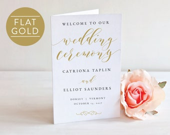 GOLD Folded Wedding Program- Instant Download-Ceremony Booklet- Editable PDF-DIY-Calligraphy Template-Printable Wedding Program-#SN029_FP