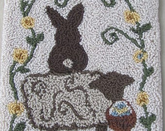 Punch Needle Pattern ~ Sheep and Bunny with egg basket ~ punchneedle pdf pattern ~ needle punch epattern ~Sheep Punch Needle ~ Bunny Pattern