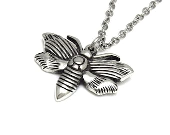Moth Necklace, Lepidoptera Pendant Jewelry in Pewter