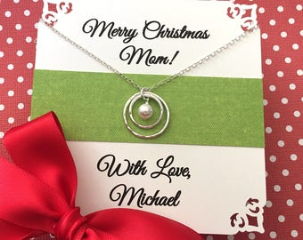 Christmas Gift for MOM or Grandmother Jewelry - Pearl Necklace for Mom or Grandmother Gift from Son or Son in Law Sterling Silver GIFT BOXED