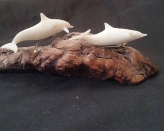 Dolphin Figurine, Carved Wood, Vintage Dolphin Figure, Collectable Figurine, White Dolphin Figures, Vintage Figurine, Dolphin Collectable