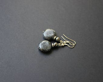 Larvikite earrings Black labradorite coin earrings Hematite gemstone jewelry Simple earrings Everyday dangle earrings Bijoux labradorite