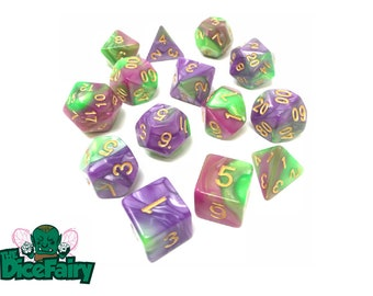 D&D Dice Set / Polyhedral Dice Set / Rose Red With Green - Purple With Green Fairy Snot Blend