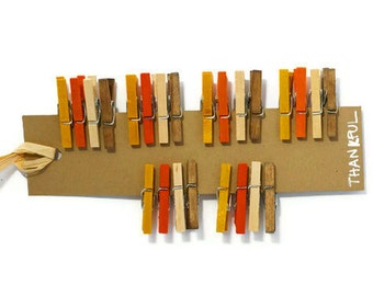 24 Thankful mini clothespins in fall autumn colors 24 clips. Thanksgiving gift enclosure embellishment